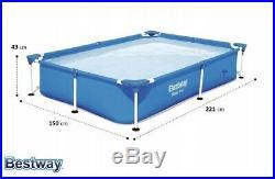 10in1 BestWay SWIMMING POOL 221x150 Kids Rectangular Garden Above Ground Pool