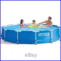 12ft x 30in Above Ground Swimming Pool Durable Metal Frame 28210NP Capacity Blue