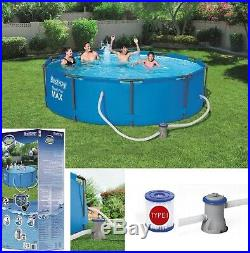 12in1 GARDEN SWIMMING POOL + PUMP 305cm 10FT Round Frame Above Ground Pool SET