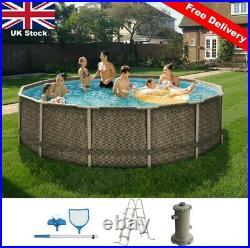 14FT Large RATTAN SWIMMING POOL 426cm Garden Round Above Ground Pool & Pump Set