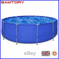 15ft x 4ft Steel Frame Large Round Above Ground Swimming Pool Outdoor Garden Fun