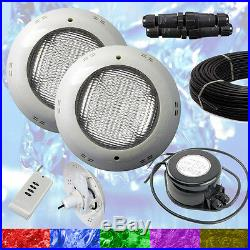 2 x Swimming Pool LED Light RGB Above Ground / Vinyl Bright + Power + Cable
