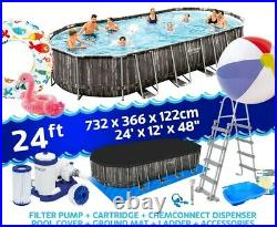 5611T Bestway 24FT Power Steel Oval Above Ground Swimming Pool Set + EXTRAS