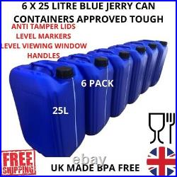 6 x 25 litre 25L 25000 ml new plastic bottle jerry can water container blue