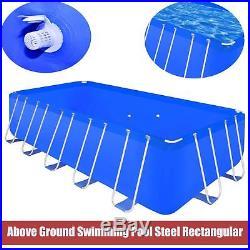 Above Ground Garden Swimming Pool Steel Frame Rectangular Summer Family Patio UK