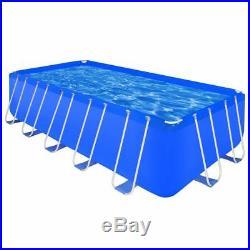 Above Ground Steel Frame Rectangular Family Swimming Pool Blue 17.7' x 8.9' x 4