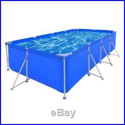 Above Ground Swimming Pool Steel Frame Large Rectangular Garden Family Blue New