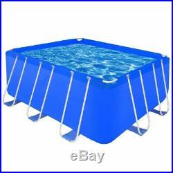 Above Ground Swimming Pool Steel Frame Rectangular Summer Pool 400x207x122 cm