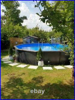 Aqua World Above Ground 15ft x 4ft Graphite Effect Round Swimming Pool