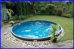 Aqua World Above Ground Steel Satinwood Effect 12ft x 3.5ft Round Swimming Pool