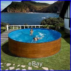 Aqua World Above Ground Steel Wood Effect 15ft x 4ft Round Swimming Pool