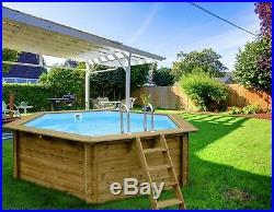 Aqua World Above Ground Wooden 3.54m x 3.07m x 1.16m Hexagonal Swimming Pool