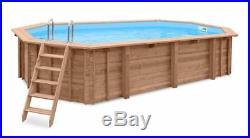 Aqua World Above Ground Wooden 6.07m x 3.96m x 1.31m Oblong Swimming Pool
