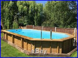 Aqua World Above Ground Wooden 7.27m x 3.96m x 1.38m Oblong Swimming Pool
