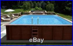 Aqua World Above Ground Wooden 8.34m x 4.92m x 1.38m Rectangular Swimming Pool
