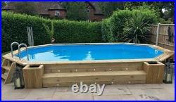 Aqua World Above Ground Wooden Oblong Swimming Pool 7.27m x 3.96m x 1.38m