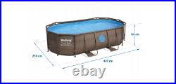 BESTWAY RATTAN PRINT OVAL SWIMMING POOL 14ft x 8.2ft x 39.5in ABOVE GROUND