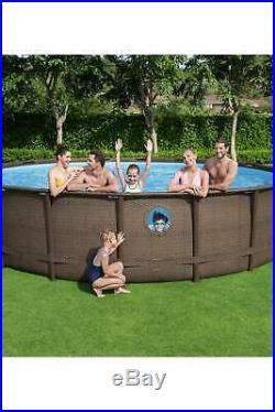 BestWay Steel Frame Swimming Pool Set Round Rattan Above Ground Vista 16' x 48