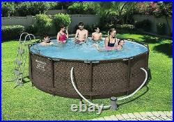 Bestway 12FT Swimming Pool Steel Rattan Round Above Ground Garden 366 x 100cm