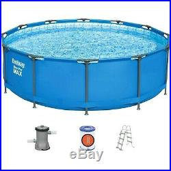 Bestway 12ft x 39.5 Steel Pro MAX Round Above Ground Swimming Pool Bundle 56418