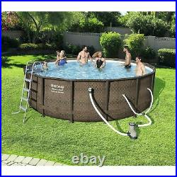 Bestway 14ft x 42in Power Steel Deluxe Above Ground Swimming Pool Set and Pump