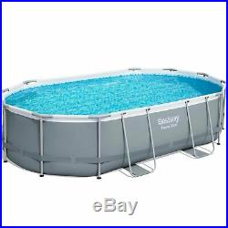 Bestway 16ft x 10ft Oval Power Steel Above Ground Swimming Pool Filter Pump & Ac
