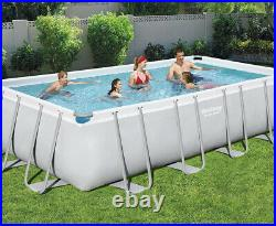 Bestway 18Ft Rectangle Above Ground Swimming Pool Set +Solar Cover+Accessories