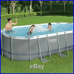 Bestway 18ft x 9ft Oval Power Steel Above Ground Swimming Pool Filter Pump & Acc