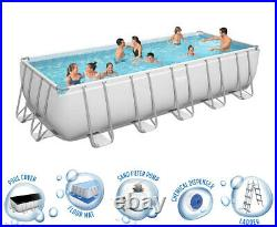 Bestway 21' Power Steel Rectangular Above Ground Swimming Pool Set 21' x 9' x 52