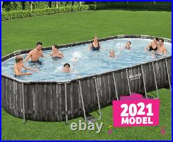 Bestway 24FT Power Steel Oval Above Ground Swimming Pool Set + Accesories