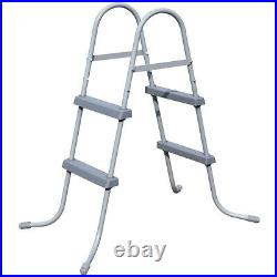Bestway 33in Flow Clear Above Ground Metal Frame Step Ladder for Swimming Pool
