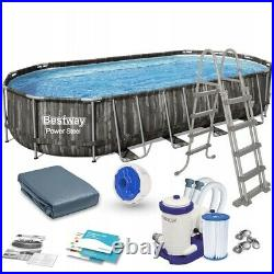 Bestway 5611T Power Steel Oval Above Ground Swimming Pool 732x366x122cm
