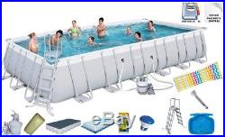 Bestway 56475 Power Steel Above Ground Rectangular Swimming Pool 732x366x132cm