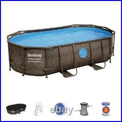 Bestway 56714 oval above ground Pool with Swim Wista Porthole14ft Rattan