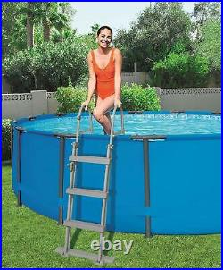 Bestway FlowClear 42 inch Metal Frame Pool Step Ladder For Above Ground Swimming