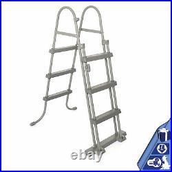 Bestway FlowClear 42 inch Metal Frame Step Ladder Pool Above Ground Swimmin o