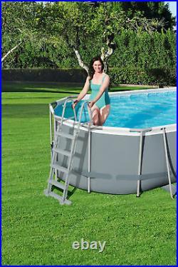 Bestway Grey Oval above Ground Swimming Pool 549x274x122 CM Garden Pool Mega XL