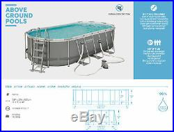 Bestway Grey Oval above Ground Swimming Pool 549x274x122 CM, Incl. Filter, Head