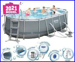 Bestway Oval Above Ground Swimming Pool Power Steel 14ft / 4.27m x 2.50m x 1.00m