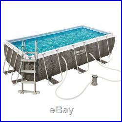 Bestway Pool Above-Ground Rectangular Rattan with Ladder and Pump Filter