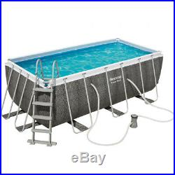 Bestway Pool Above-Ground Rectangular Rattan with Pump Filter and Ladder