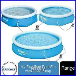 Bestway Range of Inflatable Blue Swimming Pool Above Ground with Filter Pump