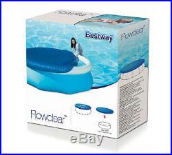 Bestway Round Swimming Pool Cover Easy Fast Set Paddling Sheet Debris W Rope Tie