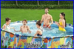 Bestway Safari Swimming Pool 305 cm 10FT Round Frame Above Ground Pool Steel Pro