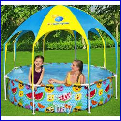 Bestway Steel Pro UV Careful Above Ground Pool for Kids Baby Sun Shade Canopy