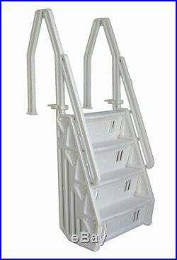 Blue Wave Swimming Pool Steps Stair Ladder Entry for Above Ground Pools White