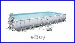 HUGE Swimming Pool Set Above Ground Rectangular Garden Cover Ladder Pump Cloth