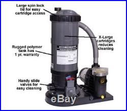 Hydro Above Ground Pool Cartridge Filter and Pump System 90 & 120 sq ft Filters