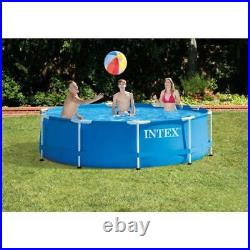 INTEX Round Metal Frame Above Ground Family Swimming Pool-Set 10ft × 30in