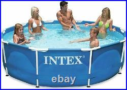 Intex 10ft Metal Steel Frame Pool Set, Above Ground Swimming Pool with Pump
